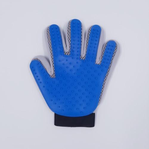 blauw grijze vachthandschoen links