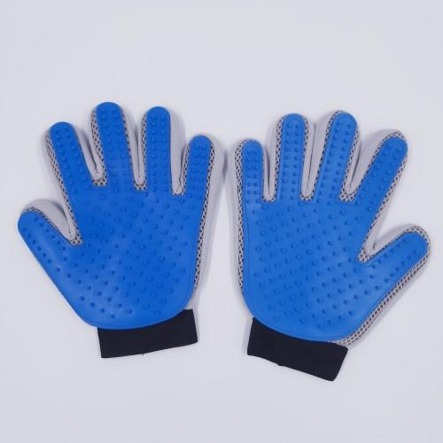 blauw grijze vachthandschoen paar