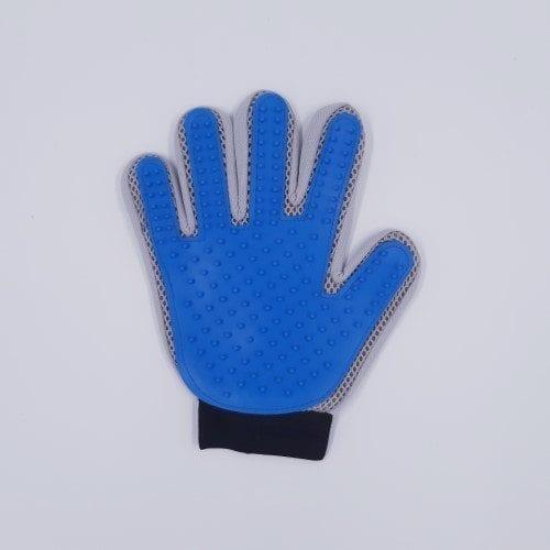 blauw grijze vachthandschoen rechts