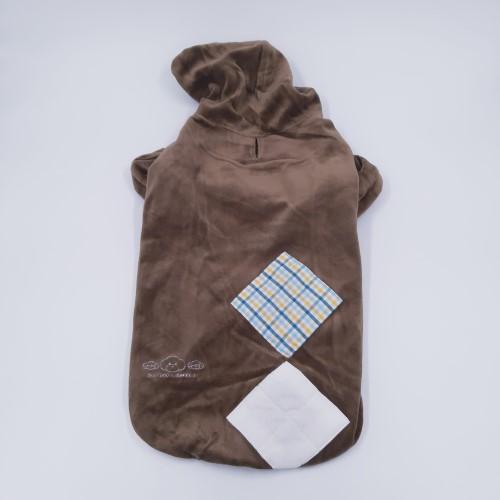 Bruine velours honden hoodie rug