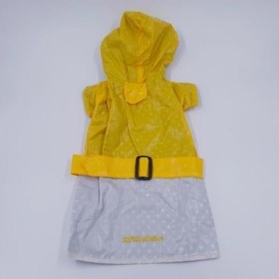 geel wit zawrt regenjasje rug