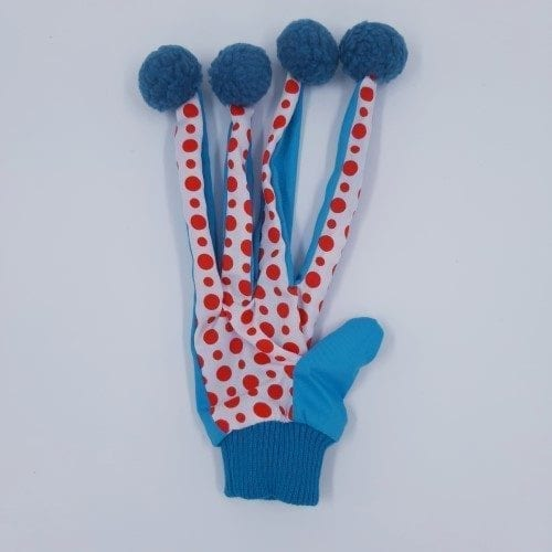 kat speel handschoen blauw