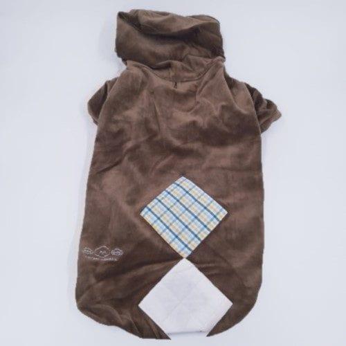 Bruine velours honden hoodie rugzijde