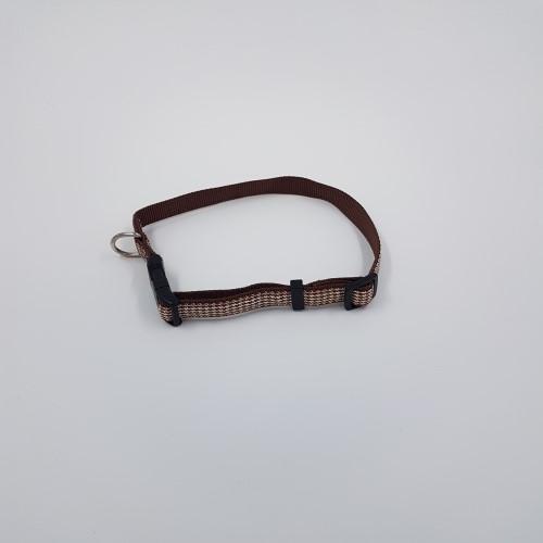 Bruine ruit nylon halsband verstelbaar