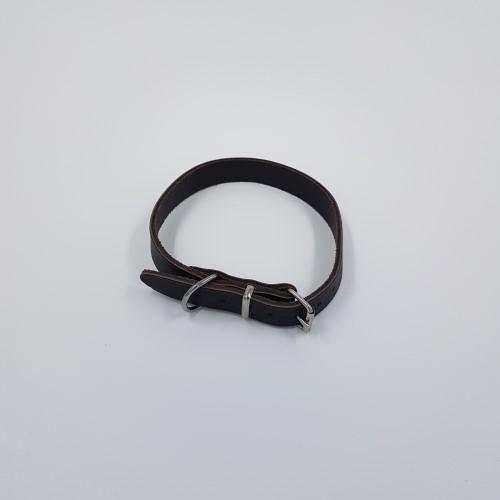Donkerbruine leren halsband