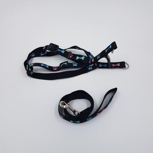 Nylon harnas en riem - zwart met roselichtblauw pootjebotje