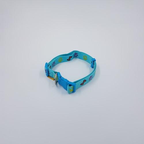 Nylon verstelbare halsband lichtblauw botjespootjes