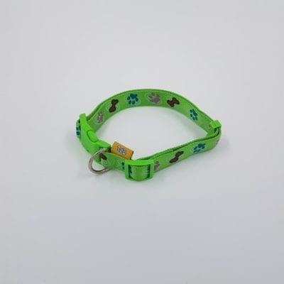Nylon verstelbare halsband lichtgroen botjes en pootjes