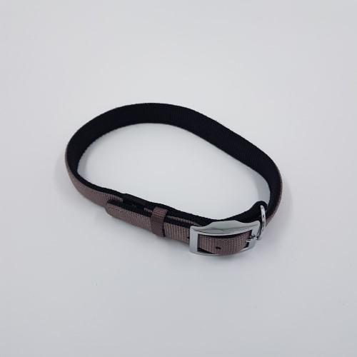 Zwartgrijs dubbelgenaaide nylon halsband